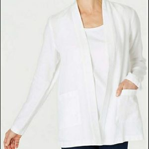 J. Jill Pure Jill White Linen Cardigan Jacket XL